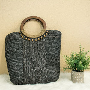 Handbags - Straw handbag with round wodden handles